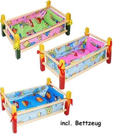 "1 Stück _ Holz - Puppenbett - "" bunte Tiere "" - 40 cm lang - aus Naturholz - incl. Bettzeug - Decke & Kopfkissen - für Puppen - Holz Wiege Kinderbett Bett Baby - Schaukelbett - Holzbett / Bett Baby - Puppenbettchen / Puppenmöbel / Puppenbettzeug - Puppen - Puppenstockbett klein - Puppe - Puppenzubehör - Holzwiege / Bettwäsche -"