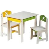 """1 Tisch für Kinder - aus Holz - """" weiß / grün / gelb """" - Kindertisch - für Jungen & Mädchen - Kindermöbel - Kinderzimmer für circa 1 - 3 Jahre - für Kindersitzgruppe / Sitzgruppe - Stühlen Kita - Massivholz -"""