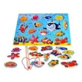 14 Fische Frühe Entwicklung des Bildungswesens Magnetic Bad Angeln Hubtabelle Spiel, Geburtstagsgeschenk HolzSpielzeug für Alter 3 4 5 Jahre altes Kind Baby Kleinkind Jungen Mädchen Magnet Spielzeug -