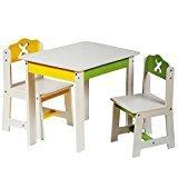 """3 tlg. Set: Sitzgruppe für Kinder - aus sehr stabilen Holz - weiß - """" Bagger / Traktor & Auto """" - Tisch + 2 Stühle / Kindermöbel für Jungen & Mädchen - Kindertisch - Kinderstuhl - Kinderzimmer für circa 1 - 3 Jahre - Kindersitzgruppe - Tischgruppe / Stühlen - Baustelle -"""