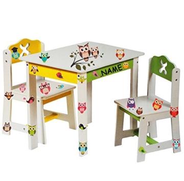 3 tlg set sitzgruppe f r kinder aus sehr stabilen holz wei bunte eulen tisch 2. Black Bedroom Furniture Sets. Home Design Ideas