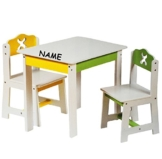 3 tlg. Set: Sitzgruppe für Kinder - aus sehr stabilen Holz - weiß / grün / gelb - incl. Name - Tisch + 2 Stühle / Kindermöbel für Jungen & Mädchen - Kindertisch - Kinderstuhl - Kinderzimmer für circa 1 - 3 Jahre - Kindersitzgruppe - Tischgruppe / Stühlen -