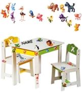 """3 tlg. Set: Sitzgruppe für Kinder - aus sehr stabilen Holz - weiß - """" lustige Zootiere """" - incl. Name - Tisch + 2 Stühle / Kindermöbel für Jungen & Mädchen - Kindertisch - Kinderstuhl - Kinderzimmer für circa 1 - 3 Jahre - Kindersitzgruppe - Tischgruppe / Stühlen -"""