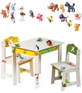 """3 tlg. Set: Sitzgruppe für Kinder - aus sehr stabilen Holz - weiß - """" lustige Zootiere """" - Tisch + 2 Stühle / Kindermöbel für Jungen & Mädchen - Kindertisch - Kinderstuhl - Kinderzimmer für circa 1 - 3 Jahre - Kindersitzgruppe - Tischgruppe / Stühlen -"""