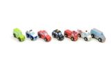 7er Set Mini Autos aus Holz / Fahrzeug Set bestehend aus: Limousine, Van, Coupé, Taxi, Polizei, Feuerwehr + Krankenwagen -