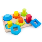 ACOOLTOY Holzspielzeug Formen Stecken Stapel Puzzle Bunte Sortier Block für Kinder Early Education(Blau) -