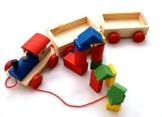 AeMBe - Holz Zug mit Bausteinen - Legespiel Lernspiel / Holz Spielzeug / Gedächtnisspiel für Kinder - Legespiel Anlegen - Motoric Übungen -