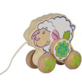 Baby Spielzeug Schaf Nachziehtier aus stabilem Holz, geeignet ab 1 Jahr - Zieh Ziehtier Kinder Nachzieh Spielzeug -