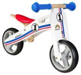 BIKESTAR® Frühstarter Kinderlaufrad für freche Zwerge ab ca. 18 Monaten ★ 7er Natur Holz Edition ★ Weiß Blau Rotes Rally Design -