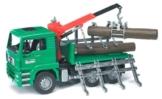 Bruder 02769 - MAN Holztransport-LKW mit Ladekran und 3 Baumstämmen -