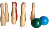 dobar 30478 - hochwertiges Kegelspiel aus massivem Natur-Holz mit 9 Kegeln, 23 cm hoch und 2 farbig Holzkugeln -