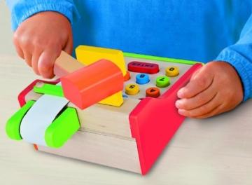 Eichhorn 100003717 - Holz-Kasse, 64-teilig - mit Kartenlesegerät und Scanner - 16,5x26x16cm - inklusive Spielgeld, Karte und Papierrolle -