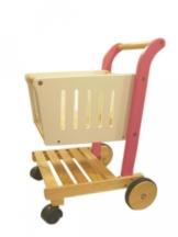 Einkaufswagen für den Kaufladen / Material: Hartholz / Farbe: holzfarbend, pink + weiß lackiert / Maße: 40 x 42 x 58 cm / 3+ -