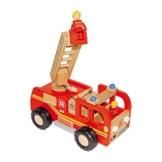 Feuerwehrlaster aus Holz, mit zwei kleinen Figuren sowie bewegbarer Drehleiter und Förderkorb, eine tolle Spielidee für Kinder ab 3 Jahren -
