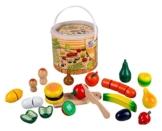 Happy People 45043 - Holz-Obst und Gemüse im Eimer, Küchenspielzeug -