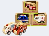 Holz-Auto Einsatzfahrzeuge Feuerwehr, Polizei oder Ambulanz -
