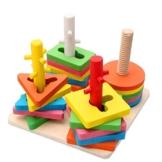 Holzsammlung Farben und Formen Sortierspiel - Holz Geometrischer Kreatives Stapler / Steckpuzzle ab 3 Jahre -