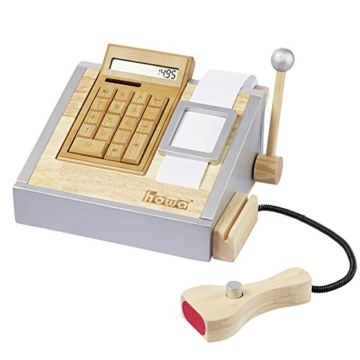 howa Spielkasse mit voll funktionsfähigem Rechner aus Holz incl. Spielgeld 4873 -