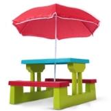 Infantastic Kindersitzgruppe inkl. Sonnenschirm - Kinder Sitzgruppe 2 Bänke + Tisch für bis zu 4 Kinder -