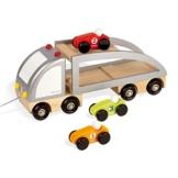 Janod 4505597 - Lastwagen mit 3 Rennwagen aus Holz -