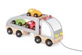 JANOD 4505603 - Lastwagen mit Rennwagen aus Holz -