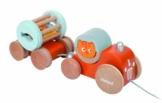 Janod 4508121 - Nachzieh-Traktor Katze mit Rassel -