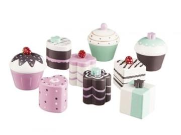 Kids Concept Kekse-Set, Cupcake, Pralinen, Muffin, 9 Stück gemischt aus Holz 412941 -