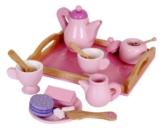 Kinder Kaffeeservice Teeservice für Spielküche aus Holz pink mit Tablett -