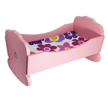 Kinder Spielzeug aus Holz Rosa Farbenes Puppen Schaukelbett mit Matratze und Kissen -