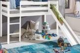 Kinderbett Hochbett mit rutsche Leiter Hochbett Spielbett Kiefer Massiv weiss oder Unbehandelt (Weiss) -