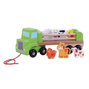 Kinderholzspielzeug Nachzieh Farm LKW mit Tieren by jumini ® -