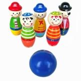 Kleinkindspielzeug Longra Bowlingkugel Holzspielzeug pädagogische interaktive Holzspielzeug Baby Hands-on Fähigkeit entwickeln Kinder Geburtstagsgeschenk Sport Fitness Spielzeug -