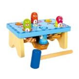 Klopfbank aus Holz ab 3 Jahren, kindgerechtes Design mit integriertem Zahlenspiel und Wippe, inkl. Holzhammer -