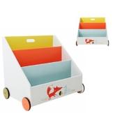 Labebe - Kinder Holz Bücherregal Spielzeugregale mit Rollen - 3 Fächer / 600x430x550 mm (weiß Fuchs) -