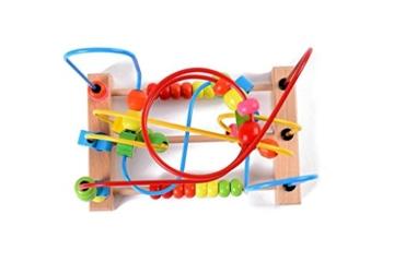 Lewo Motorikschleife aus Holz mit drei verschiedenen Schleifen Tierkreis Roller Coaster um Korn Maze Spielzeug für Kinder -