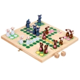 Ludo für die ganze Familie in originellem  Bauernhofstil, mit kleinen Tieren als Spielfiguren, zusammenklappbares Spielbrett, für Kinder ab 5 Jahre -