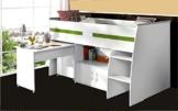 PARISOT Kinderbett Hochbett Reverse mit Schreibtisch weiß -