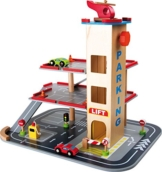 Parkhaus komplett aus Holz mit 3 Etagen und Aufzug, Hubschrauberlandeplatz auf dem Dach, mit Autos, Verkehrsschildern und vielem mehr -