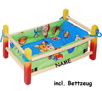 "Puppenbett aus Holz - "" Jungen Farben "" - incl. Name - 40 cm lang - aus Naturholz - für Puppen - incl. Bettzeug - Decke & Kopfkissen - Holz Wiege Kinderbett Bett Baby - Puppe - Puppenzubehör - Holzwiege / Bettwäsche - Schaukelbett - Holzbett / Bett - Puppenbettchen / Puppenmöbel / Puppenbettzeug - Puppen - Puppenstockbett klein -"