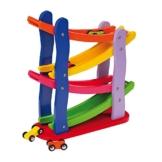 Rennbahn im Kaskadenstil aus Holz, vier Etagen, mit vier Holzautos, fasziniert die Kinder -