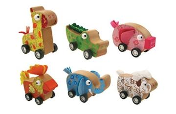 Rückziehtiere, Holztiere auf Rädern, Rückzugtiere mit Friktionsmotor -