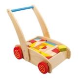 Small Foot by Legler Lauflernwagen aus Holz, großes Fach mit bunten Bauklötzen, schult Farb- und Formverständnis -
