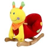 STODOMED Schaukelpferd Schaukeltier Schaukelspielzeug mit Rückenlehne Wippe aus weichem Plüsch Baby Stuhl mit Musik verschiedene Modelle Pony Schaf Schnecke Marienkäfer (Schnecke bunt) -