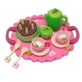 Teeservice SLH rosa mit grüner Kanne für Kinderküche Spielküche von Holzspielzeug Peitz -