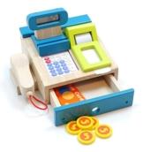 Tolle Spielkasse aus Holz mit integriertem Taschenrechner mit Sound, Bonrolle, Scanner, Geldstücke + Kreditkarte (ab 3 Jahre) -
