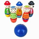 Tonsee Bowlingkugel Holzspielzeug pädagogische interaktive Holzspielzeug Baby Hands-on Fähigkeit entwickeln Kinder Geburtstagsgeschenk Sport Fitness Spielzeug -