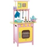Ultrakidz Kleine Spielküche aus Holz mit Backofen und Mikrowelle, inkl. Kochausstattung -
