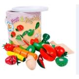 UNGIFTIGES HOLZ Schneiden von Obst Gemüse Küche Rollenspiel Essen Kinder Spielzeug set Lebensmittel für Spielküche zum schneiden Kochen mit Schneidebrett und Messer Obst- und Gemüsespielzeug Küchenzusatz pädagogisches Spielzeug Küchenspielzeug -