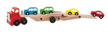 Woody Holz Autotransporter 30,5x16x7cm / Transporter für Autos mit 4 bunten Autos -