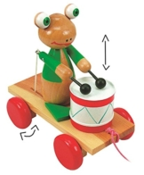 """Ziehtier - """" lustiger Frosch """" - aus Holz / Wackeltier - beweglich ! - schlägt auf die Trommel / macht Musik - mit Schnur - Ziehfigur als Nachziehtier - Tier Holzfigur - zum Hinterherziehen - Nachziehtiere / Nachziehspielzeug - hinterherzieh Tiere -"""